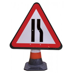 Cone Sign Road Narrows Nearside
