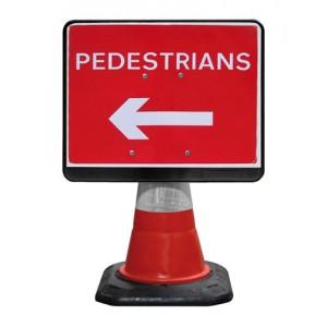 Cone Sign Pedestrians Left