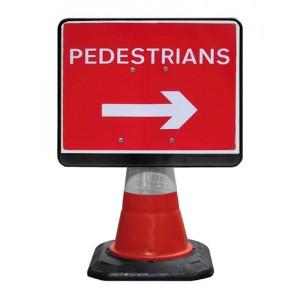 Cone Sign Pedestrians Right