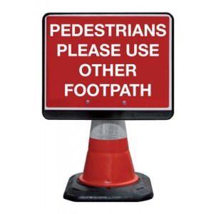 Cone Sign Pedestrians Please Use Other Footpath