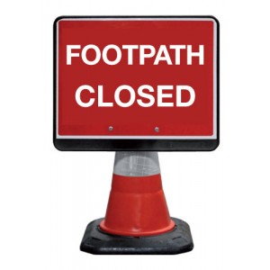 Cone Sign Footpath Closed