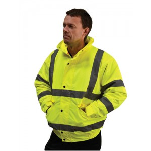 EN471 Hi Vis Bomber Jkt Yellow Large