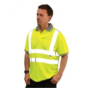 Short Sleeved Polo Shirt Hi Vis Yellow