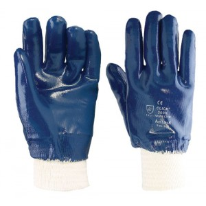 Blue Fully Coated Lined Nitrile Glove Knit Wrist