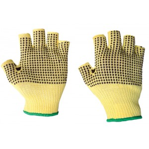 Fingerless Kevlar Dotted Glove Knit Wrist