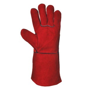 Red Leather Welders Gauntlet