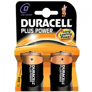 Pack 2 Duracell Plus D Cell Batteries