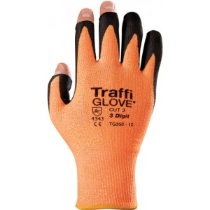 Traffiglove 3 DIGIT Amber Palm Coated Open Digit Glove Size 10