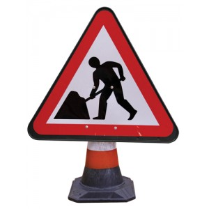 Cone Sign Men at Work